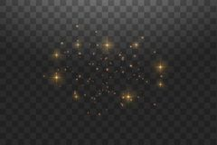 Gold star dust trail sparkling particles isolated on transparent background. Vector gold glitter wave illustration. Magic concept vector illustration