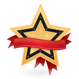 Gold star emblem with empty label. To add your text, like guarantee or best price Royalty Free Stock Photos