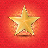 Gold star with floral background. Vector illustration Stock Illustration