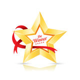 Gold Star frame the winner with ribbon. Stock Photos