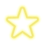 Gold star glowing retro banner. Gold Star glowing retro banner isolated on white background. Vintage retro realistic frame in the shape of stars with shining Royalty Free Stock Photography