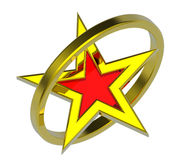 Gold star in a gold circle. 3D computer generated photo rendering Stock Images