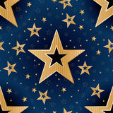 Gold star good night seamless pattern Royalty Free Stock Photos