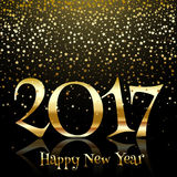 Gold star Happy New Year background. Decorative Happy New Year background with gold star confetti Royalty Free Stock Image