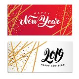 Gold star Happy New Year logo. Gold star Happy New Year invitation, background, banners. Christmas banner with text, Party invitation, celebration. Logo new year vector illustration