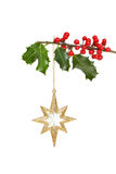 Gold star and holly Stock Photos