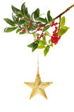 Gold star and holly Royalty Free Stock Photography