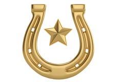 Gold star and horseshoe isolated on white background 3D illustra. Tion royalty free illustration