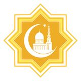 Gold star with islamic mosque royalty free illustration