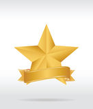 Gold star label Stock Photography
