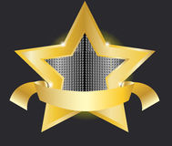Gold star label  illustration Stock Photography