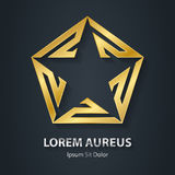 Gold star logo. Award golden 3d icon. Metallic logotype template. Volume Vector illustration Stock Photography