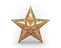 Gold star with ornaments Royalty Free Stock Photo