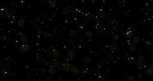 Gold star particles with starglow sparkling or shimmering light effect on black background. Magic light flare golden shine. Gold star particles with starglow stock illustration