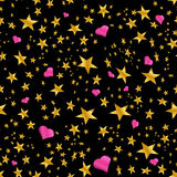 Gold Star Pink Hearts Pattern Stock Photography