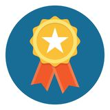 Gold Star Quality Badge. With red ribbon, Vector Illustration Stock Photo