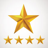 Gold star rating with five golden stars Royalty Free Stock Photos
