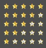 Star rating template. Gold star rating template, graphic element stock illustration