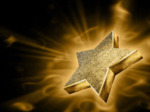 Gold star in the rays_01 Royalty Free Stock Images