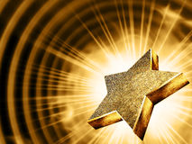 Gold star in the rays Stock Photography