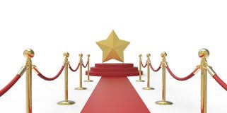 Gold star on red carpet VIP way gold fence on white gray background Stock Images