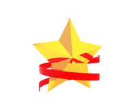 Gold star with red ribbon Stock Photo