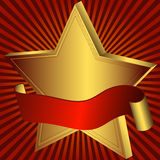Gold star with red ribbon Stock Photography