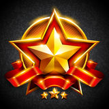 Gold star with a red ribbon Stock Photo