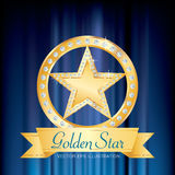 Gold star ring blue Stock Image