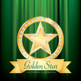 Gold star ring green Stock Images