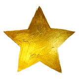 Gold Star. Shining Paint Stain Hand Drawn Illustration.  Stock Photography