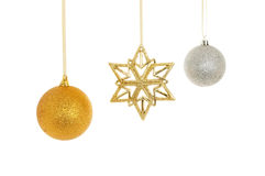 Gold star silver and gold baubles Royalty Free Stock Photography