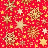 Gold Star and Snowflake Christmas Background