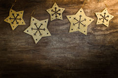 Gold star snowflakes Royalty Free Stock Images