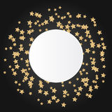 Gold star sparkles on black background with white Royalty Free Stock Images