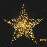 Gold star with sparkles isolated on black. Golden stars confetti. Gold star with sparkles isolated on black. Golden stars Stock Images
