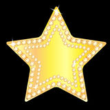 Gold star with sparkling stones Stock Photos