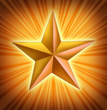 Gold star with starburst light blast Royalty Free Stock Image