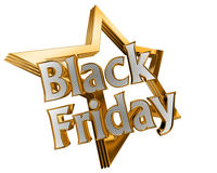 Gold star with text Black Friday on a white background Royalty Free Stock Photography