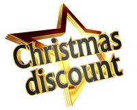 Gold star with text Christmas discount on white background. Closeup Royalty Free Stock Images