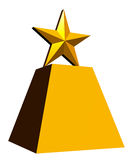 Gold Star Trophy, White Background. A computer-drawn image of a gold star trophy, with a white background Stock Image
