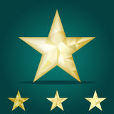 Gold star vector background. Low poly gold star make with triangles. Flickering polygonal star vector icon Royalty Free Stock Images