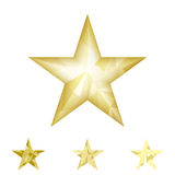 Gold star vector background. Low poly gold star make with triangles. Flickering polygonal star vector icon Stock Images