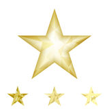 Gold star vector background. Low poly gold star make with triangles. Flickering polygonal star vector icon Royalty Free Stock Photography