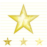 Gold star vector background. Low poly gold star make with triangles. Flickering polygonal star vector icon Royalty Free Stock Photos