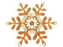 Gold star on white. Gold brocade snow star isolated on white vector illustration