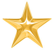 Gold Star on white background. 3D image royalty free illustration
