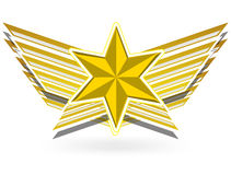 Gold star wing. The gold star wing elements Stock Photography
