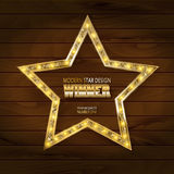 Gold star on wooden background. Vector illustration in vintage style Stock Photography