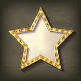 Gold star on wooden background. Vector illustration in vintage style Stock Images